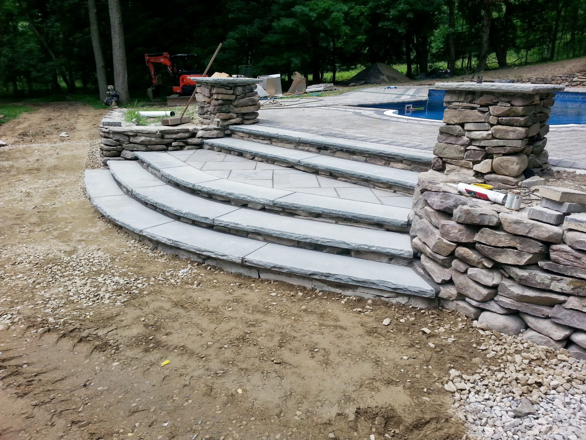 Custom Stone Steps, Light Pillars & Retaining Wall